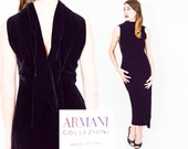 Armani Dress 90s Black Evening Dress | Silk Velvet Designer Dress, Extra Small