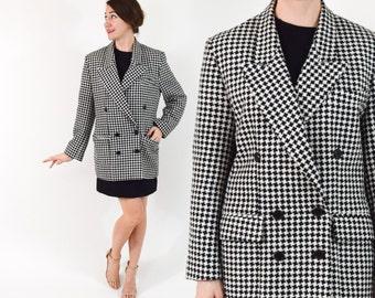 80s Houndstooth Jacket | Black & White Checked Wool Jacket Coat | Medium