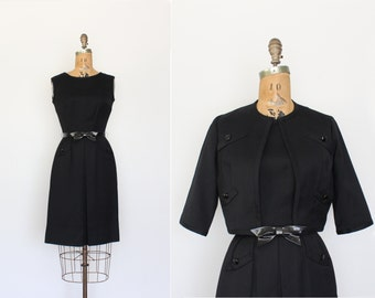 vintage 1950s dress - 50s dress small - dress set - little black dress - bow belt