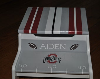 Kids Personalized 2 Step Stool and Storage Bench - Football Teams - Sports Team - Childrens Step Stool