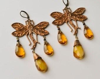 Czech Glass Earrings Dragonfly Pierced