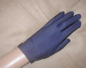 Vintage Navy Blue Satin Gloves