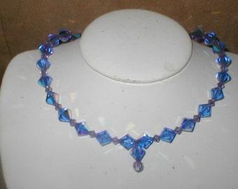 Cobalt Blue Swarovski Crystal Choker Necklace
