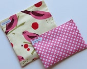 Reusable Sandwich Bag and Snack Bag Set Birdseed Bird Pink Polka Dot Eco Friendly