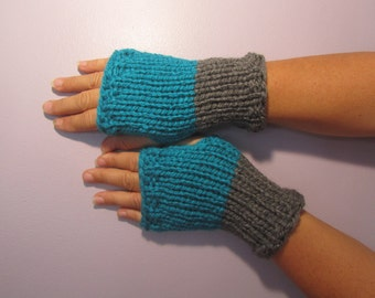 Turquoise and Grey or Pick Colors Fingerless Gloves - Blue and Gray Hand Knit Fingerless Gloves - Fingerless Gloves