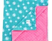 Teal Dandelion Double Minky Baby Blanket, Baby Gift, Toddler Bedding, Crib Bedding Throw Blanket, Stroller Blanket, Travel Blanket