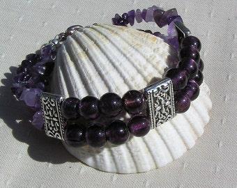 "Amethyst & Purple Silver-Foil Beaded Gemstone Bracelet ""Blackberry Sorbet"", Purple Bracelet, Silver Bracelet, Chakra Bracelet, Aquarius"