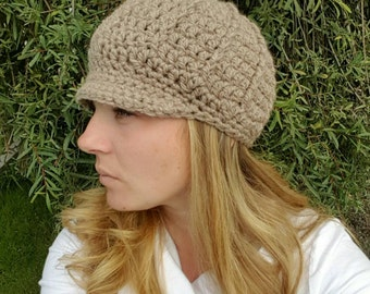 Womens cap, womens winter hat, newsboy hat, womens newsboy hat, beige hat, beige womens hat