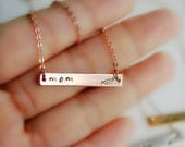 Rose Gold Bar Necklace, Gift for Mom, Mothers Necklace, Pea Pod Necklace, New Mom Gift, Pea Pod Necklace, Mother Bar Necklace, Peas in a Pod