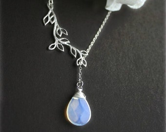 Opalite Moonstone Necklace, Lariat Necklace with Silver Branch, Sterling Silver, Lariat Necklace, Gift, Bridesmaids Necklaces