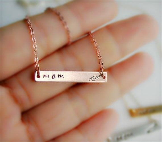 Rose Gold Bar Necklace Gift for Mom Mothers by smilesophie ...