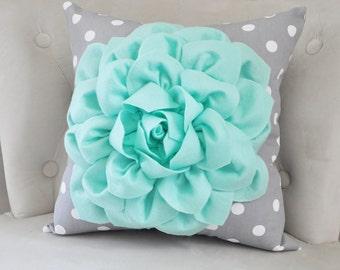 Mint Green Throw Pillow with Gray and White Polka Dot. Mint Home Decor Aqua Seafoam Mint Decor. Mint Nursery Decor. Mint Bedroom Home Decor
