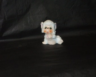 Vintage Japan Baby Sugar Snow Monkey Figurine with Pink Flower ADORABLE