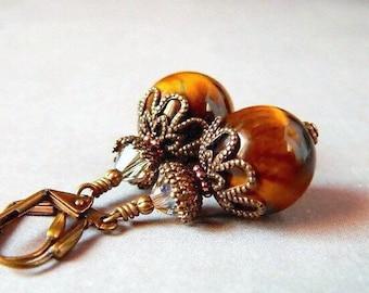 Tigers Eye Earrings Golden Brown Earrings Swarovski Crystal Dangle Earrings Bohemian Golden Stone Earrings Victorian Antique Brass Drops
