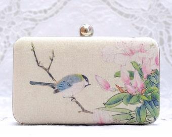 Bird on Azalea Clutch Oriental Vintage Hand Dyed Pink Flower Evening Bag Beige Purse Ivory Linen Bridesmaid Bridal Wedding Gift Minaudiere