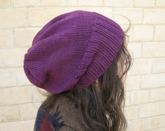 READY TO SHIP Slouchy Beanie. Slouchy Hat. Women's Hat.  Beret. Knit Hat. Mulberry. Merino