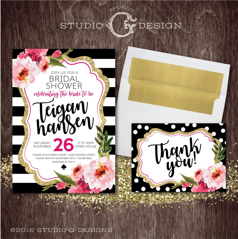 black stripe gold glitter floral kate bridal by studiogdesigns