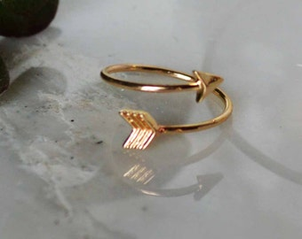 gold arrow ring, Adjustable Arrow Ring wgift box, silver arrow ring, Rose Gold arrow ring, bridesmaid ring, meaning OR custom card available
