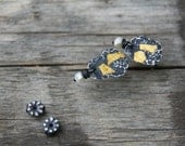 Patches of light - oxidized sterling silver and 24kt gold stud earrings