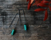 Green turquoise - long dangle earrings - oxidized sterling silver