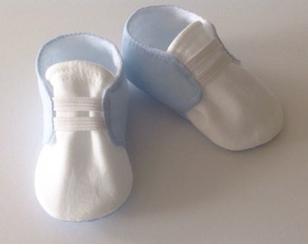 Blue & White Baby Shoes with Elastic   Newborn size up to 18 Months