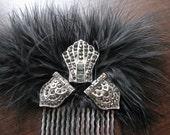 Art deco hair comb | silver hair piece | rhinestone | black fascinator