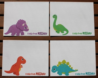 Dinosaur Personalized Printed Note Cards - Baby Shower, Birthday, Thank You