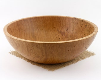 Red Oak Salad Bowl, Wood Oak Dish, Oak Fruit Bowl