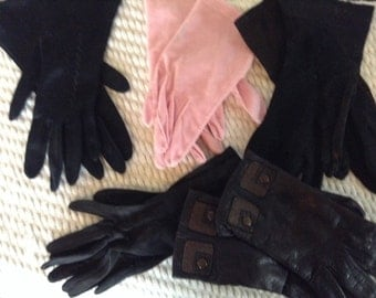 5 pairs of Vintage Ladies Gloves Leather Gloves dress gloves
