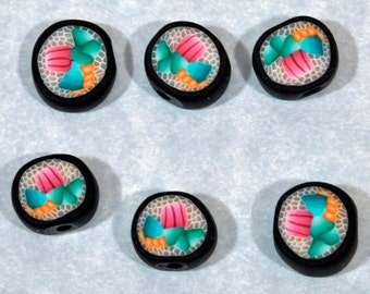 Polymer Clay Sushi Beads - Set of 6