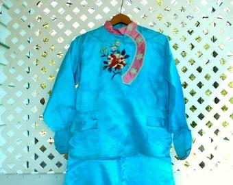 Vintage Silk Robe Silk Kimono Robe Silk Pajama Set Asian Clothing 3 Piece Set Vintage Kimono Robe and Pajama Set