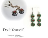 step by step INSTANT download Pdf beading PATTERN Earrings #22