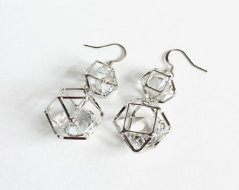 3D Polygon Geometric Earrings with Huge Crystal Glass Inside