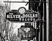 Black & White Photography Nashville art Silver Dollar Saloon sign photography urban cowboy decor black and white wall art Tennessee art