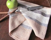 Rustic Farmhouse Decor Dish Towel, French Country Kitchen Towel, Hand Woven Cotton Chef Towel Cream Brown Caramel Stripe, Cook Kitchen Gift