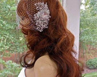 Bridal Birdcage Veil, Wedding Blusher Veil, Bridal Crystal Veil, Bridal Blusher Veil, Art Deco Veil, Art Nouveau Veil