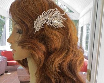 Bridal Feather Hair Fascinator, Rhinestone Feather Bridal Comb, Rhinestone Feather Wedding Comb, Rhinestone Feather Bridal Clip