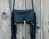 ON SALE black clutch purse , fringed leather clutch , black shoulder bag , boho style leather bag , mountain woman , free spirit