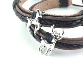 His and Hers Bracelet - Couples Jewelry - Couples Bracelet - Leather Bracelet Set - Matching Bracelets - Hunter Gifts - Deer Jewelry