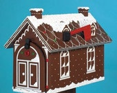 Handmade custom designed Gingerbread House functional mailbox