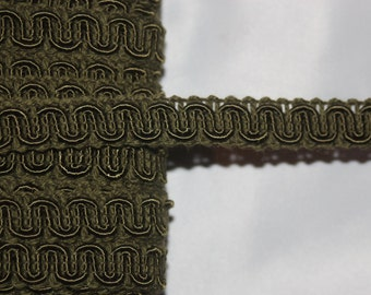 """5 yards Olive Green Gimp Upholstery sewing craft Trim 1/2"""" wide x4"""