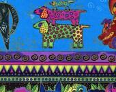 Dog and Doggies Bright Border Stripe Metallic - Laurel Burch - Clothworks - Fat Quarter