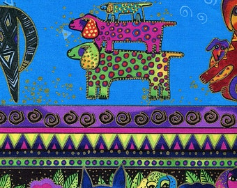 Dog and Doggies Bright Border Stripe Metallic - Laurel Burch - Clothworks - Half Yard Plus