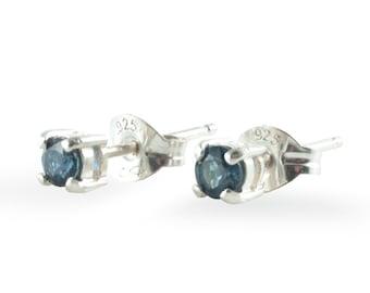 Sapphire Stud Earrings  ∙ Sterling Silver Stud Earrings ∙ September Birthstone Studs ∙ Blue Sapphire Studs ∙ Gemstone Studs Genuine Sapphire