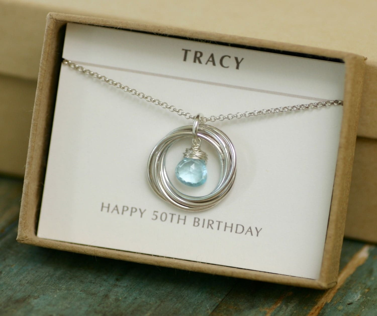 50th Birthday Gift For Sister Necklace By ILoveHoneyWillow