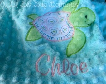 Personalized baby blanket minky- sea turtle saltwater blue, pink and green lovey blanket