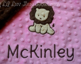 Personalized baby blanket- hot pink and brown lion- lovey blanket