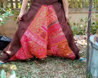 100 percent hemp Jinny Harem Lisu bloomer pants natural triangle black patchwork Plus size