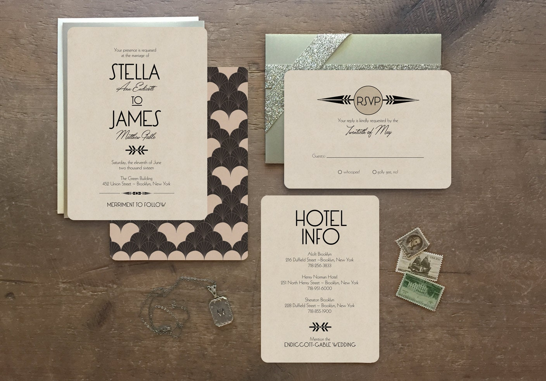 Deco Wedding Invitations: Art Deco Wedding Invitations Wedding Invitations By GoGoSnap