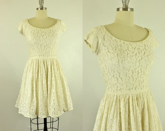 1950's White Lace Party Dress XS Prom n' Party